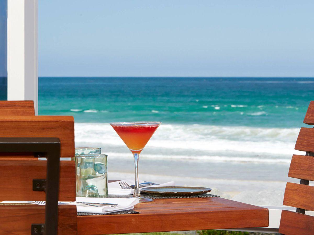 Drink with ocean backdrop