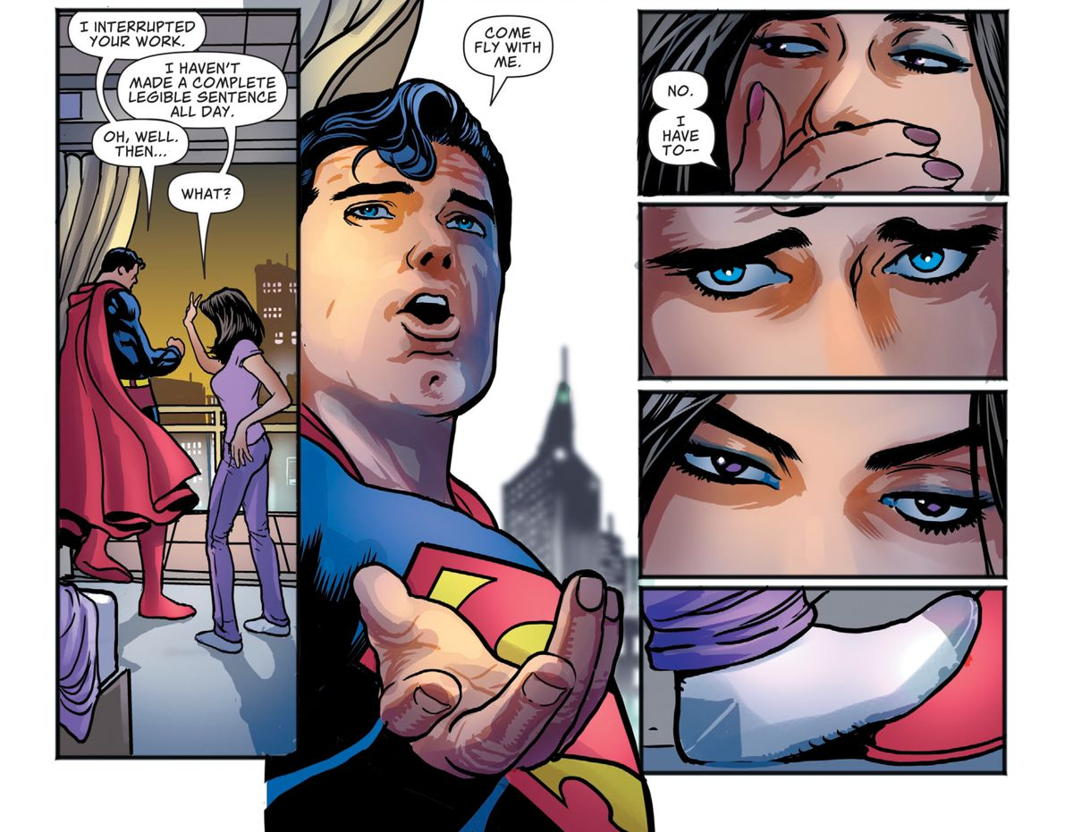 Superman asks Lois if she'll come fly with him. She refuses initially, but then he gives her sad puppy dog eyes and she relents, in Superman #17, DC Comics (2019).