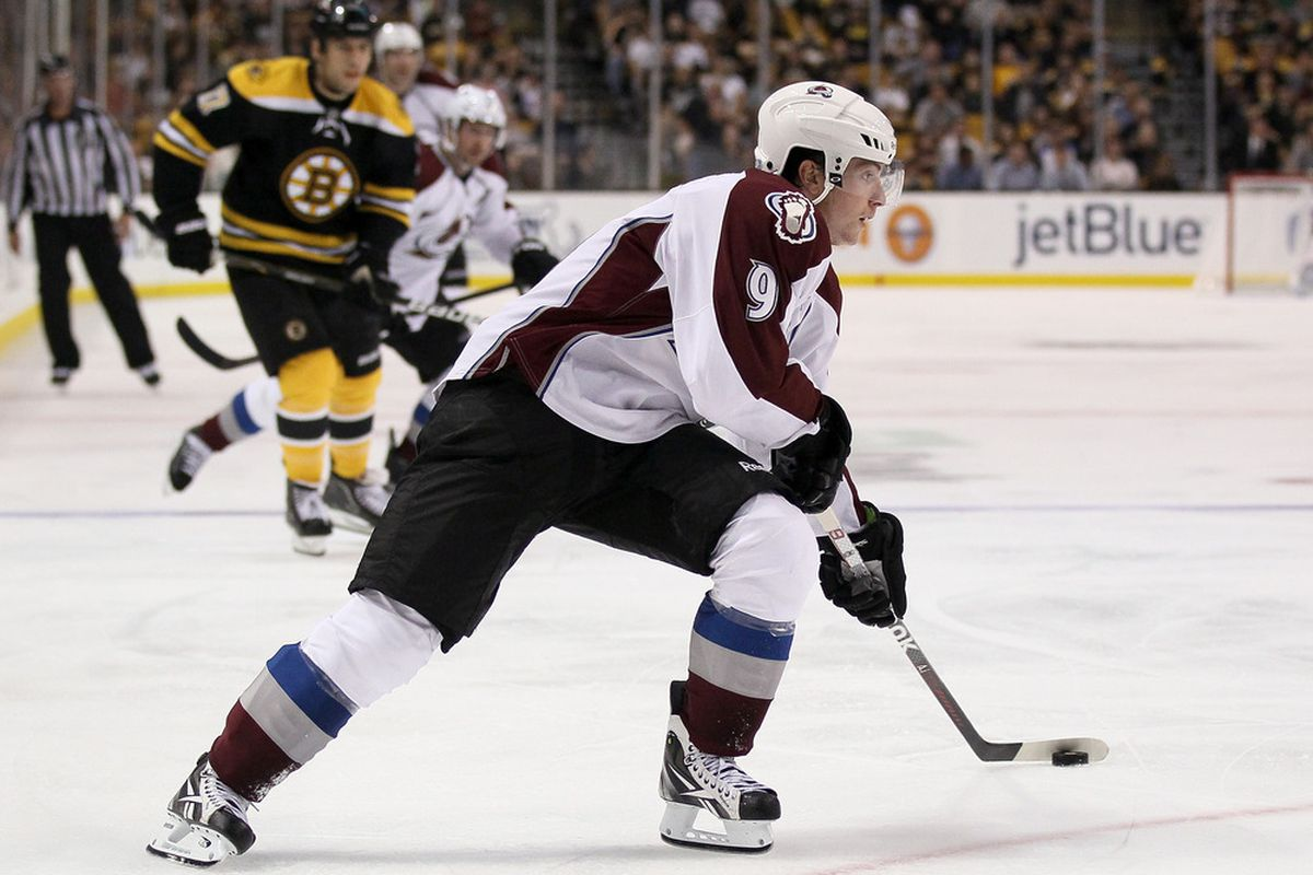 BOSTON, MA - OCTOBER 10:  Matt Duchene #9 of the Colorado Avalanche heads for the net in the second period against the Boston Bruins on October 10, 2011 at TD Garden in Boston, Massachusetts.  (Photo by Elsa/Getty Images)