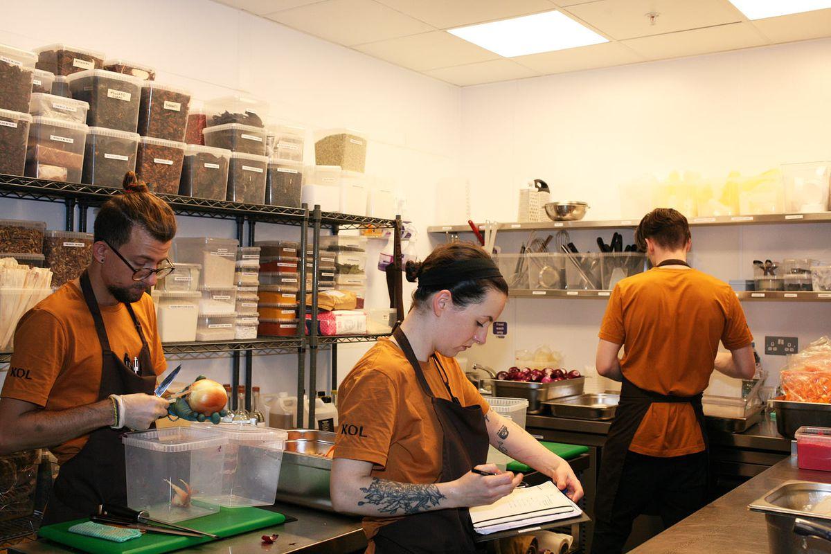 Chefs prep inside the kitchen Kol, Santiago Lastra's new Mexican restaurant