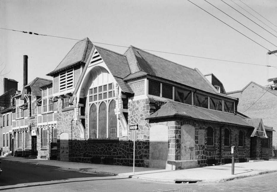 The exterior of the Church of the Redeemer for Seamen and their Families. This is a historic photograph.