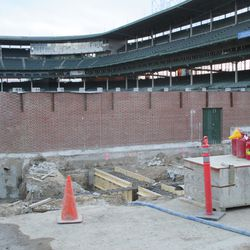 Another view showing the preparation for the foundation in left field