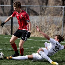 Wasatch's Gabe Manning dives to kick the ball away from Springville's Ryan Franks during a boys soccer game in Springville on Tuesday, March 23, 2021.