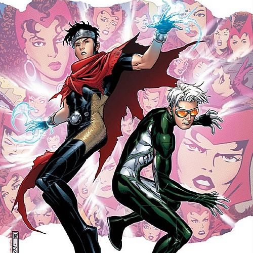 Wiccan and Speed, the reincarnated infant sons of the Scarlet Witch and Vision, on the cover of Young Avengers Presents #3, Marvel Comics (2008). They both wear skintight costumes. Wiccan accessorizes with a headband and tattered red cloak, while Speed wears goggles with yellow lenses and his hair is completely white.