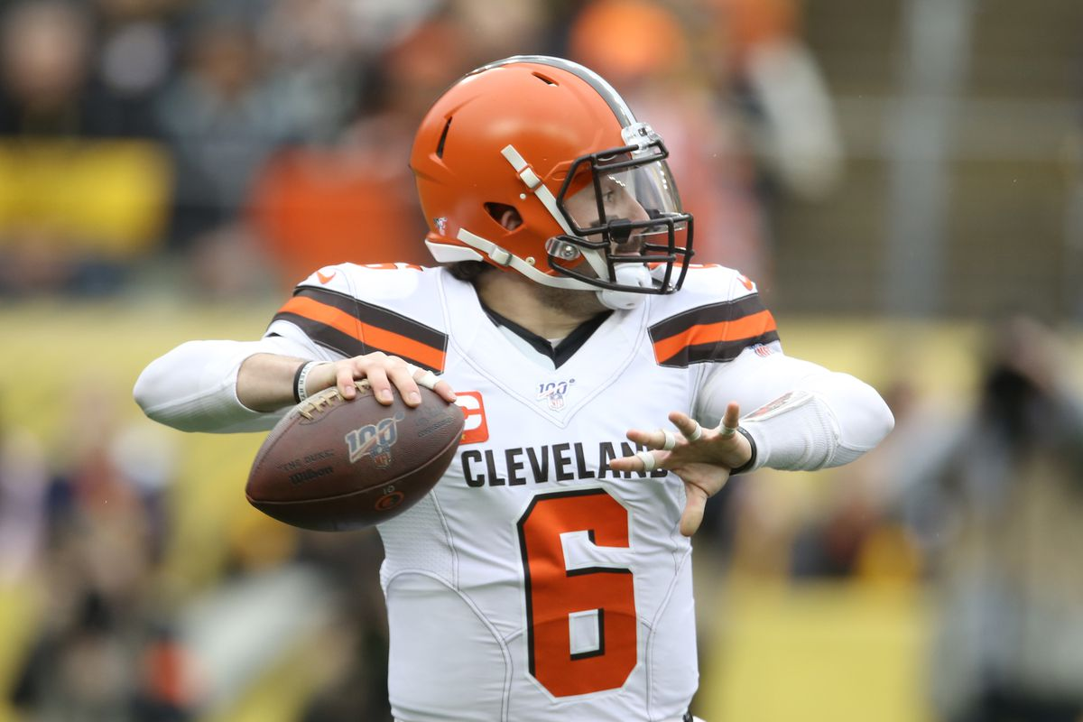 Cleveland Browns quarterback Baker Mayfield passes against the Pittsburgh Steelers during the first quarter at Heinz Field.