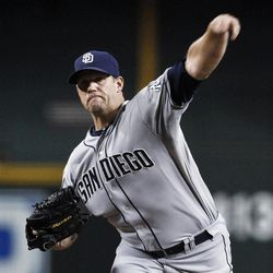 San Diego Padres' Eric Stults throws to an Arizona Diamondbacks batter during the first inning of a baseball game Tuesday, Sept. 18, 2012, in Phoenix.