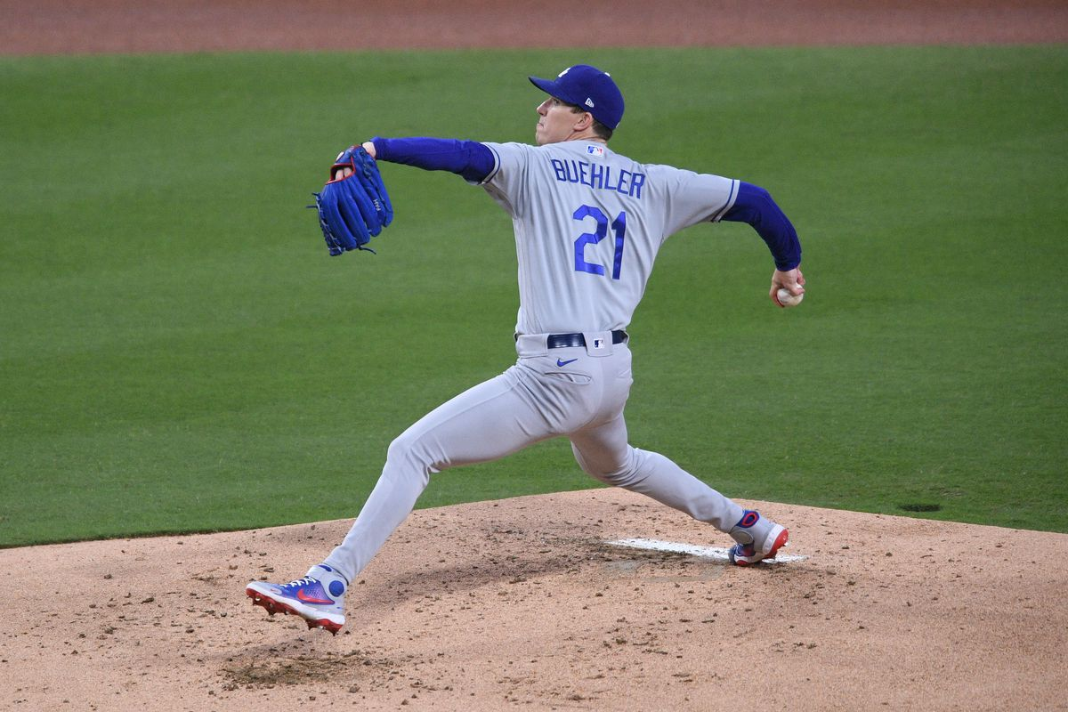Los Angeles Dodgers starting pitcher Walker Buehler pitches against the San Diego Padres during the first inning at Petco Park.