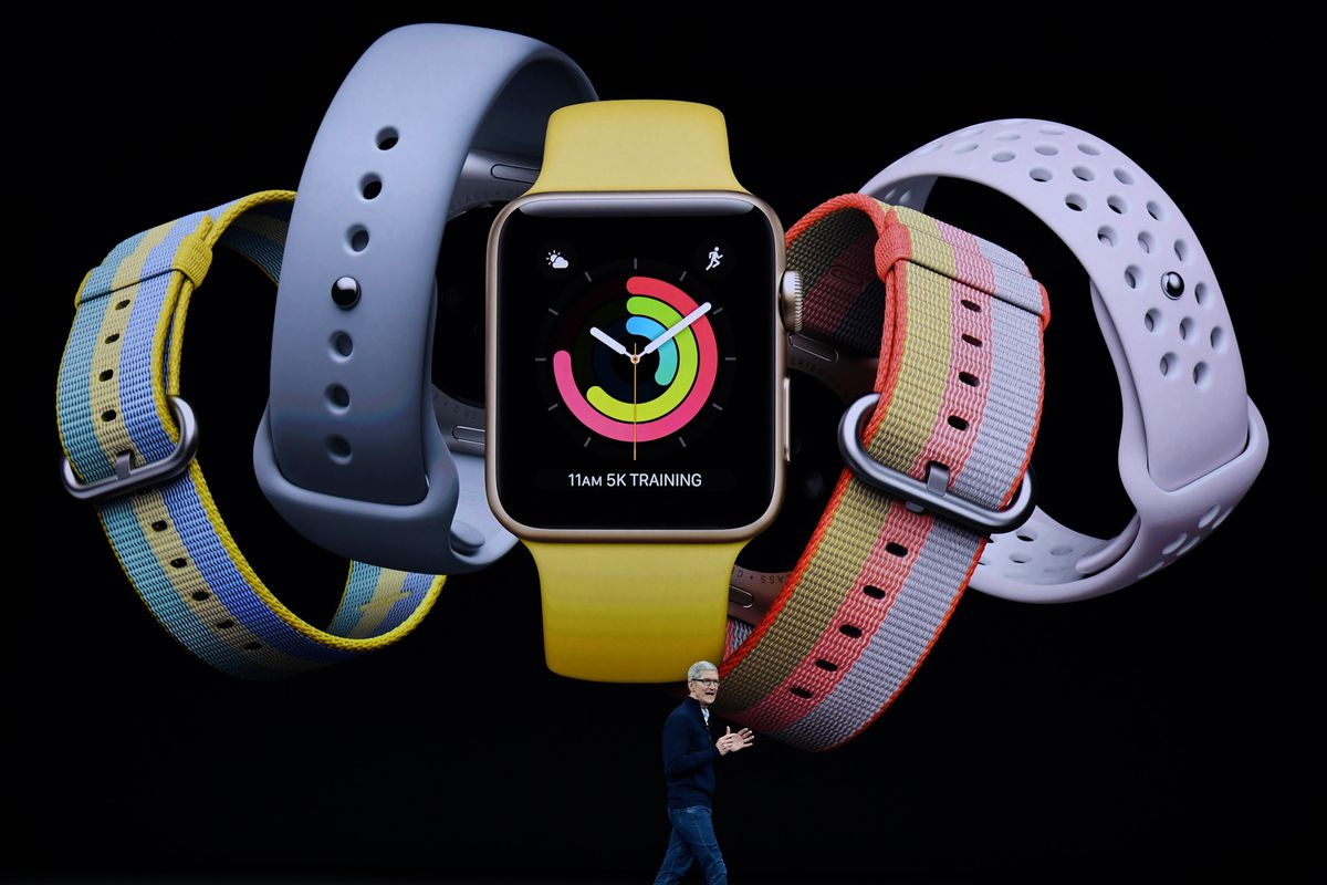 Apple CEO Tim Cook introduces Apple Watch during the Apple launch event on Sept. 12, 2017 in Cupertino, Calif.