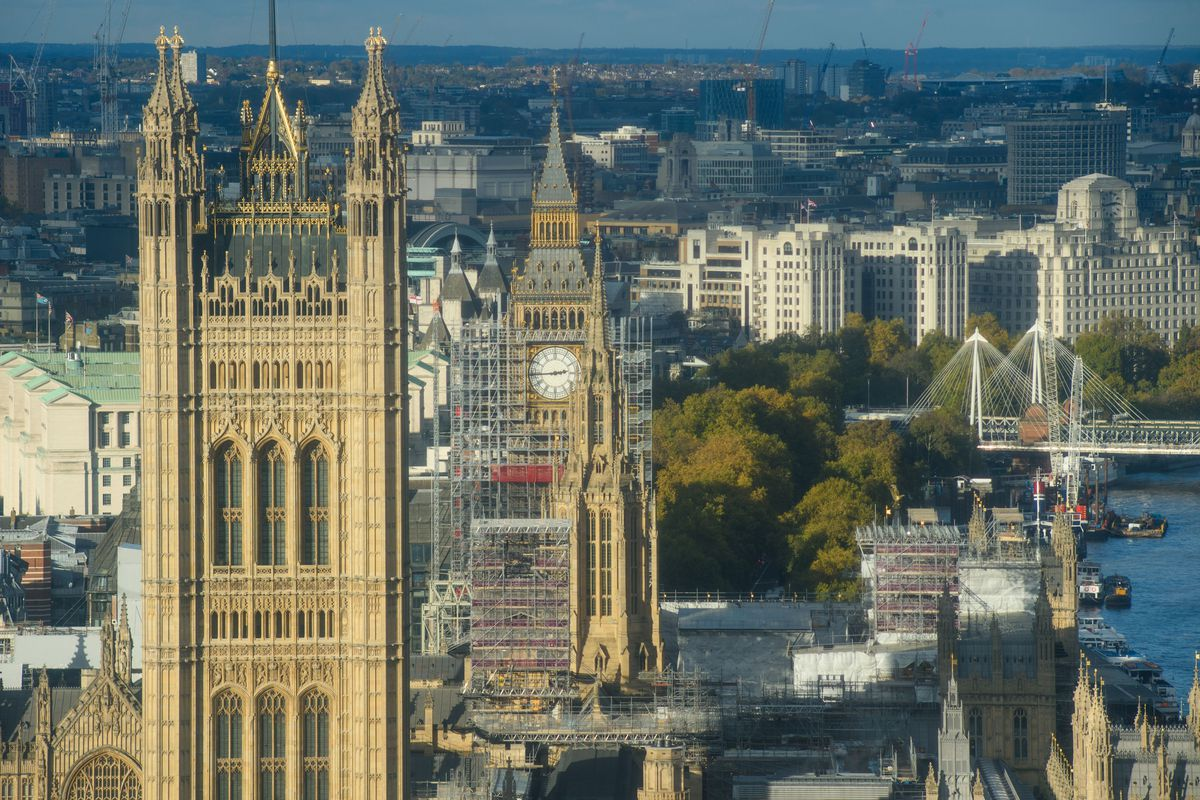 A general view from the top of Millbank Tower in London, of scaffolding around the Elizabeth Tower, also known as Big Ben, during ongoing conservation works at the Houses of Parliament.