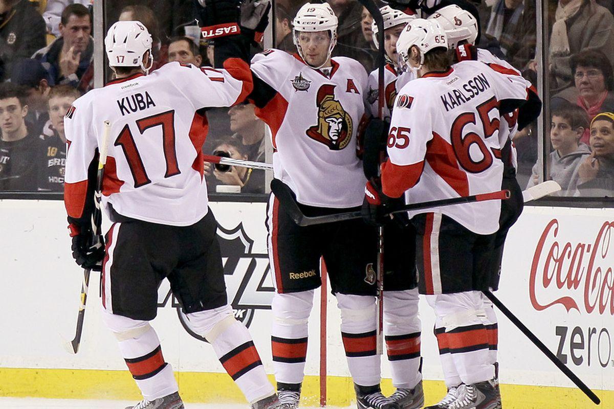 The Ottawa Senators celebrate a goal that Erik Karlsson probably assisted on.