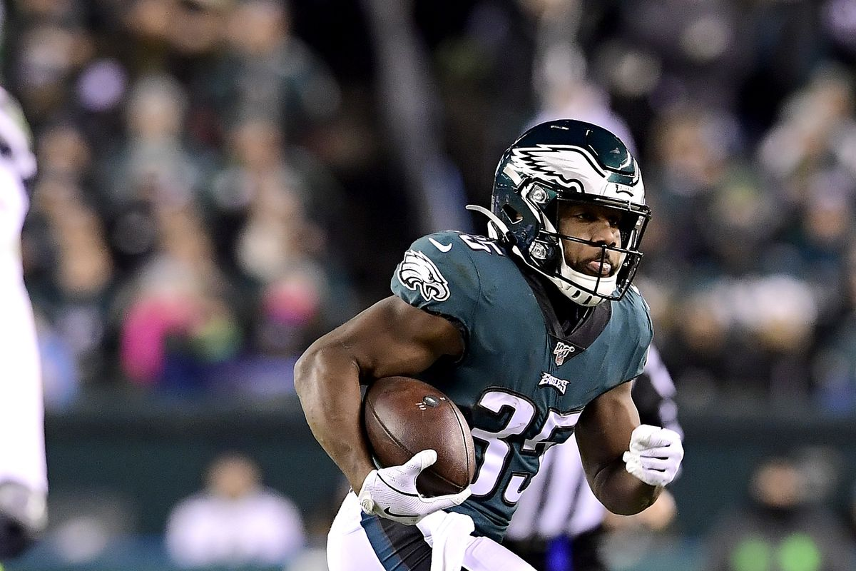 Boston Scott of the Philadelphia Eagles runs the ball against the Seattle Seahawks in the NFC Wild Card Playoff game at Lincoln Financial Field on January 05, 2020 in Philadelphia, Pennsylvania.