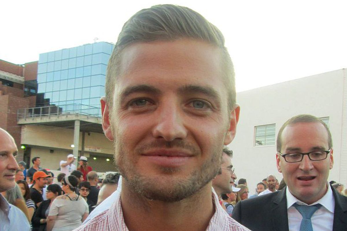 Pro soccer player Robbie Rogers in West Hollywood, celebrating the gay marriage rulings.