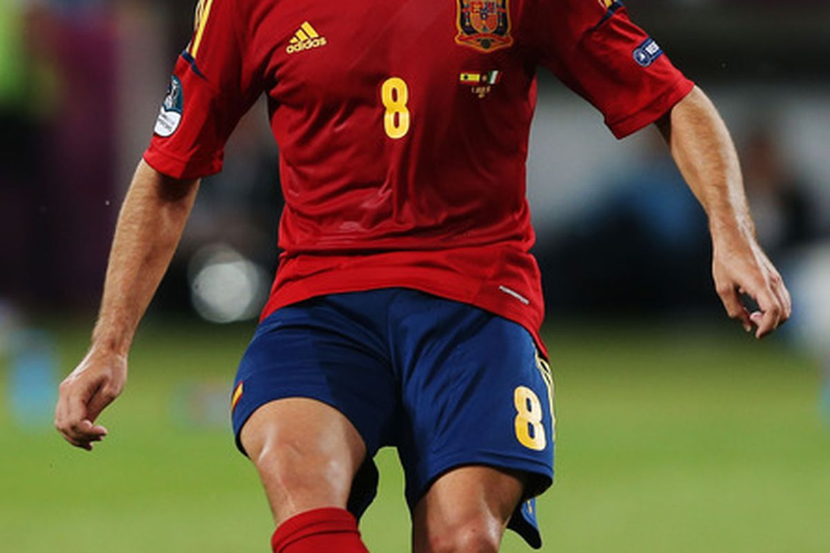 Xavi remains a key player for the Spanish national team (Photo by Alex Grimm/Getty Images)