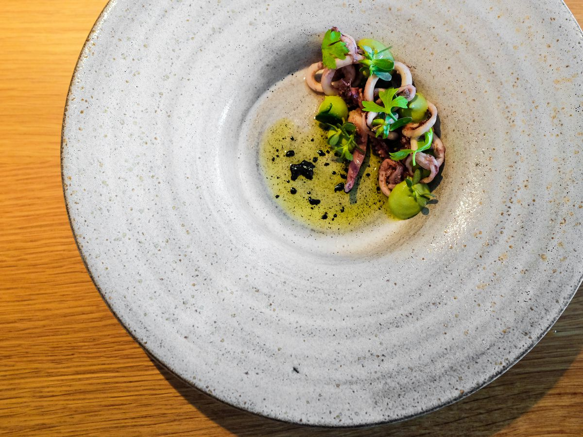 A textured ceramic plate with a wide rim and small dip filled with frothy broth topped with a tangle of octopus and vegetables