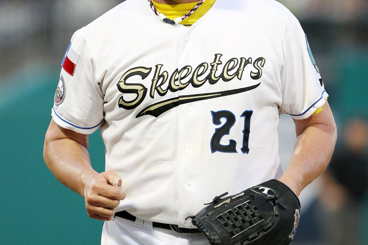 August 25, 2012; Houston, TX, USA; Sugar Land Skeeters pitcher Roger Clemens (21) walks off the field after pitching in the third inning against the Bridgeport Bluefish at Constellation Field. Mandatory Credit: Troy Taormina-US PRESSWIRE