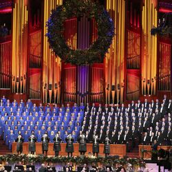 The Tabernacle Choir at Temple Square and Orchestra at Temple Square perform during a Christmas concert at the Conference Center in Salt Lake City on Thursday, Dec. 12, 2019.