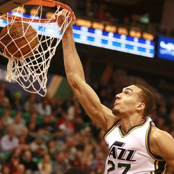 Utah Jazz center Rudy Gobert dunks the ball during the game against Minnesota Timberwolves in the Energy Solutions Arena Tuesday, Dec. 30, 2014, in Salt Lake City.