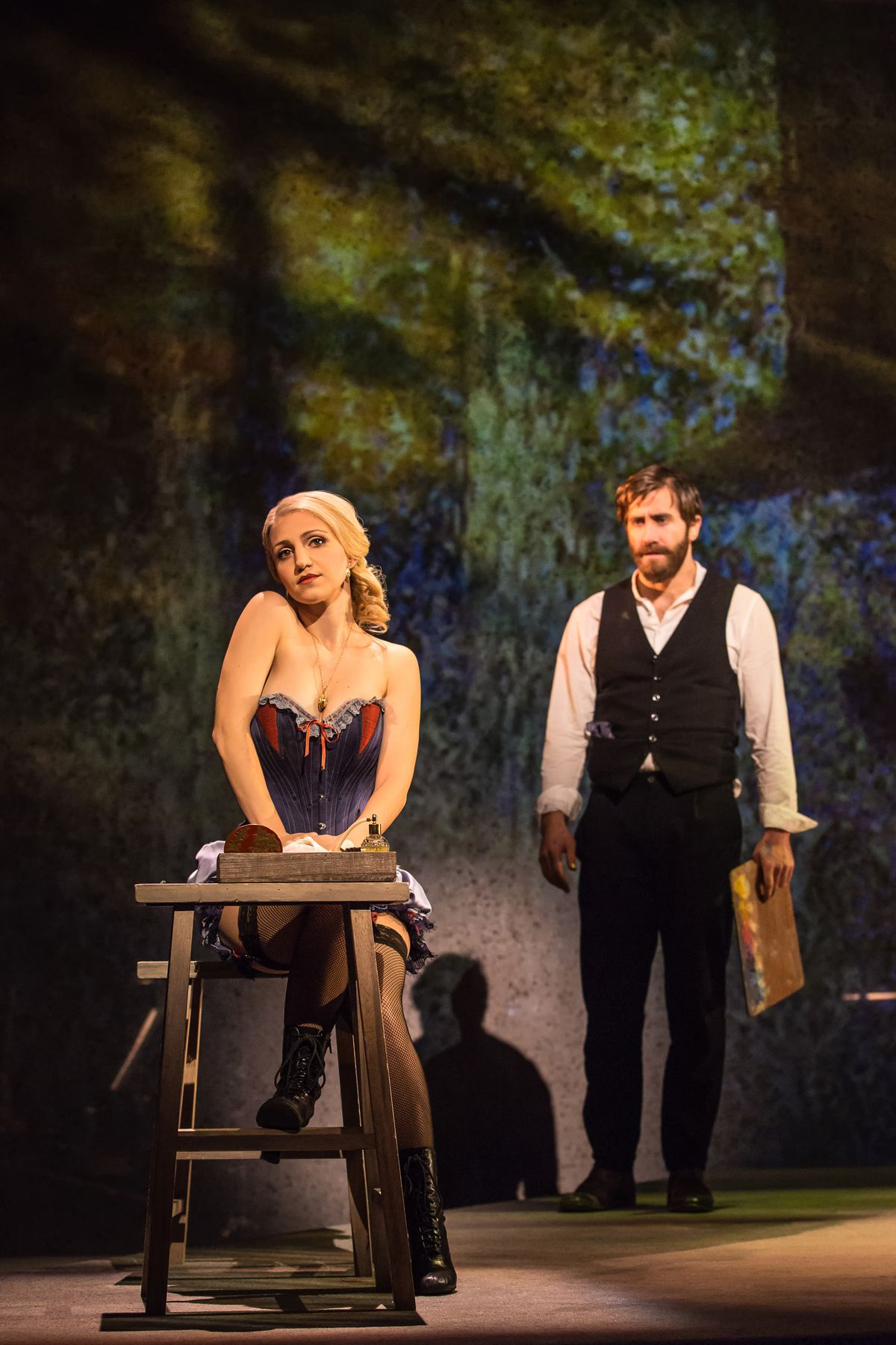 """Annaleigh Ashford plays Dot and Jake Gyllenhaal plays George in the Broadway revival of Stephen Sondheim's """"Sunday in the Park with George."""" (Photo: Matthew Murphy)"""
