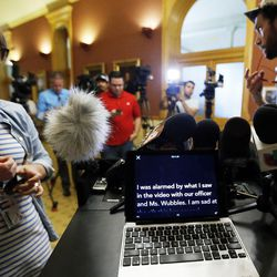 A laptop with Salt Lake City Police Chief Mike Brown's prepared statement about a University Hospital nurse who was arrested for not allowing a blood draw by a Salt Lake police officer is seen on a podium before a press conference in Salt Lake City on Friday, Sept. 1, 2017.