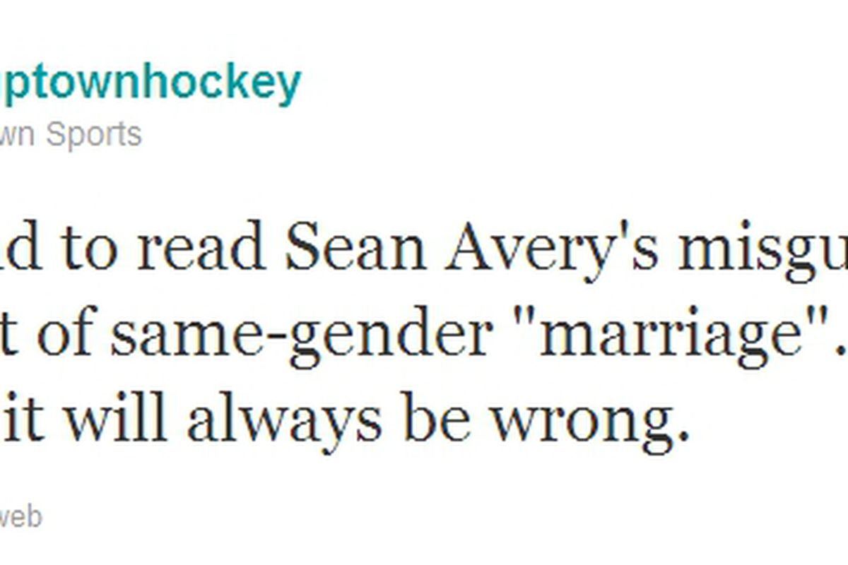 Uptown Hockey's tweet reaction was not unexpected from someone, but shocking that it comes from an agency
