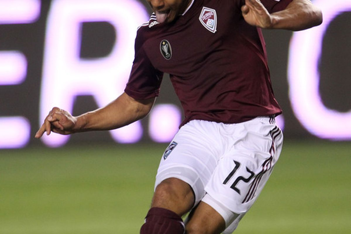 CARSON, CA - MARCH 26:  Quincy Amarikwa #12 of the Colorado Rapids scores a first period goal agaisnt Chivas USA at The Home Depot Center on March 26, 2011 in Carson, California.  (Photo by Stephen Dunn/Getty Images)