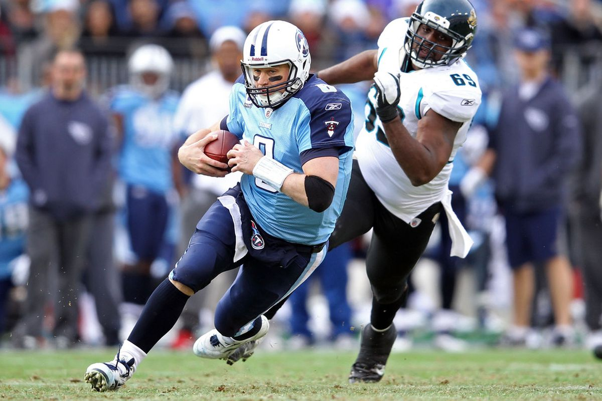 NASHVILLE, TN - DECEMBER 24:  Matt Hasselbeck #8 of the Tennessee Titans runs with the ball during the NFL game against the Jacksonville Jaguars at LP Field on December 24, 2011 in Nashville, Tennessee.  (Photo by Andy Lyons/Getty Images)
