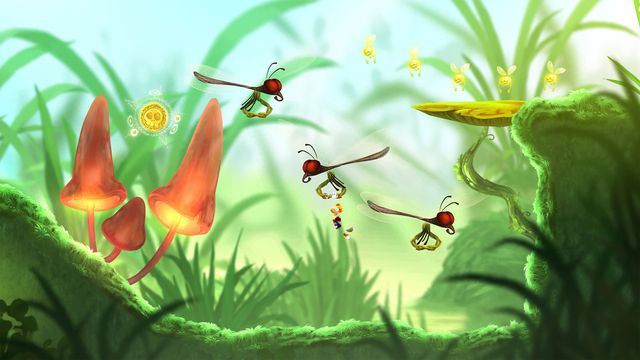 A screenshot from Rayman Mini, where Rayman is the size of an ant
