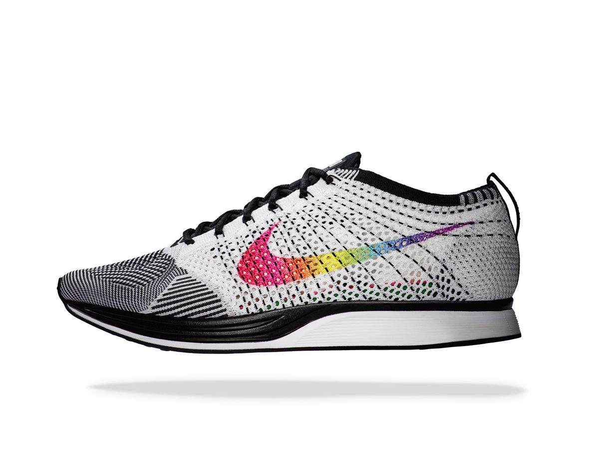 c7aa63d11e2ece Nike Flyknit Racer BE TRUE  The eight-color rainbow Swoosh honors the  original 1978 Pride flag and the diverse LGBTQ spectrum it empowers.