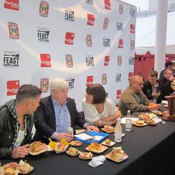 Vogue's Jeffrey Steingarten (second from left), tasting at Thursday night's Sandwich Invitational. As previously reported, Beast's Naomi Pomeroy took home the title for Best in Show. (Courtesy Raphael Brion)