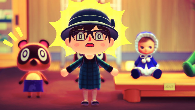 Animal Crossing: New Horizons - a villager stands in shock next to a creepy human baby doll.