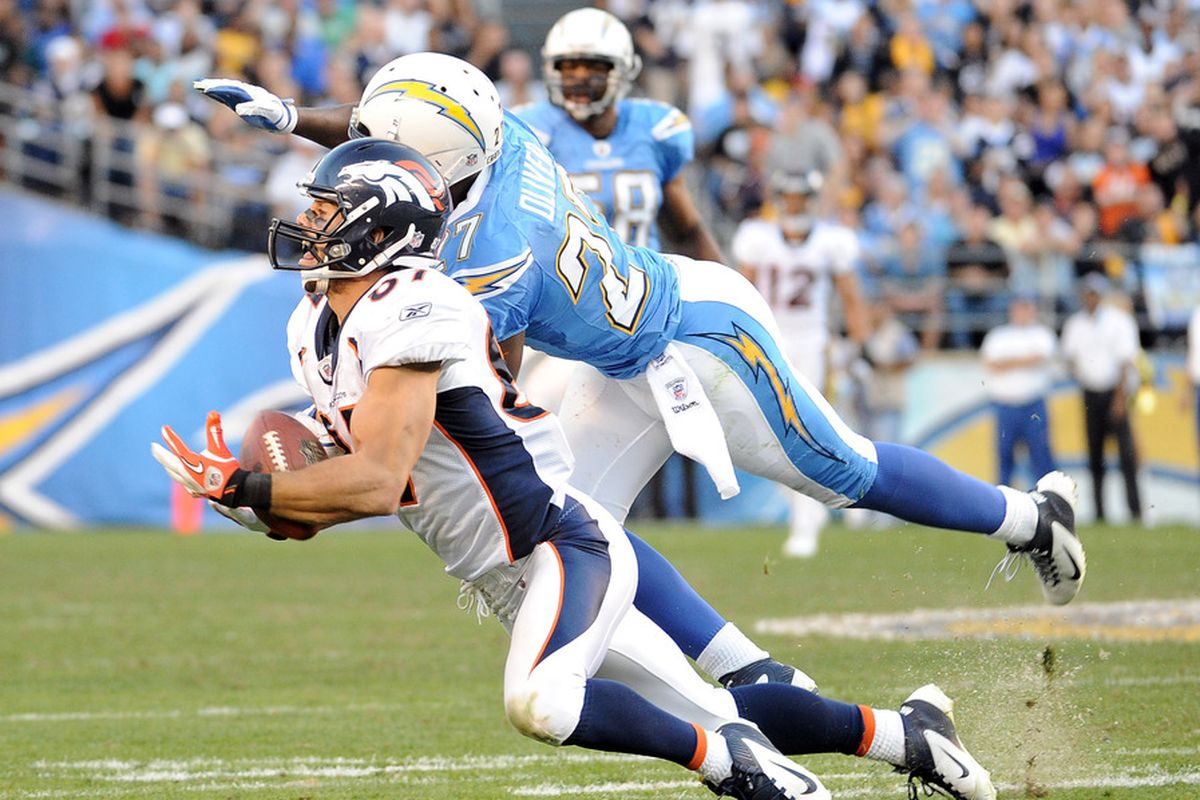 Eric Decker #87 of the Denver Broncos makes a diving catch for a first down in front of  Paul Oliver #27 of the San Diego Chargers during the fourth quarter. (Photo by Harry How/Getty Images)