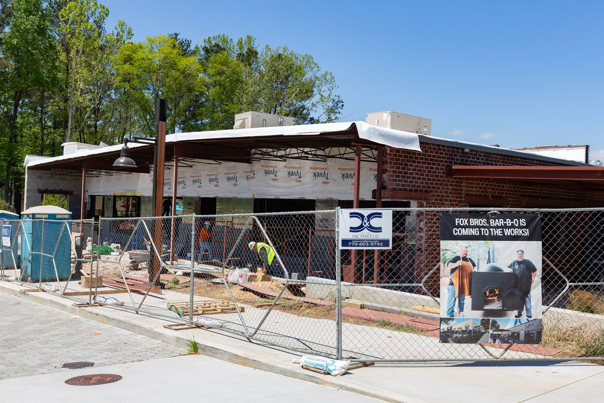 Construction underway at the the Fox-Bros. Bar-B-Q location in Underwood Hills, Atlanta, at the Works