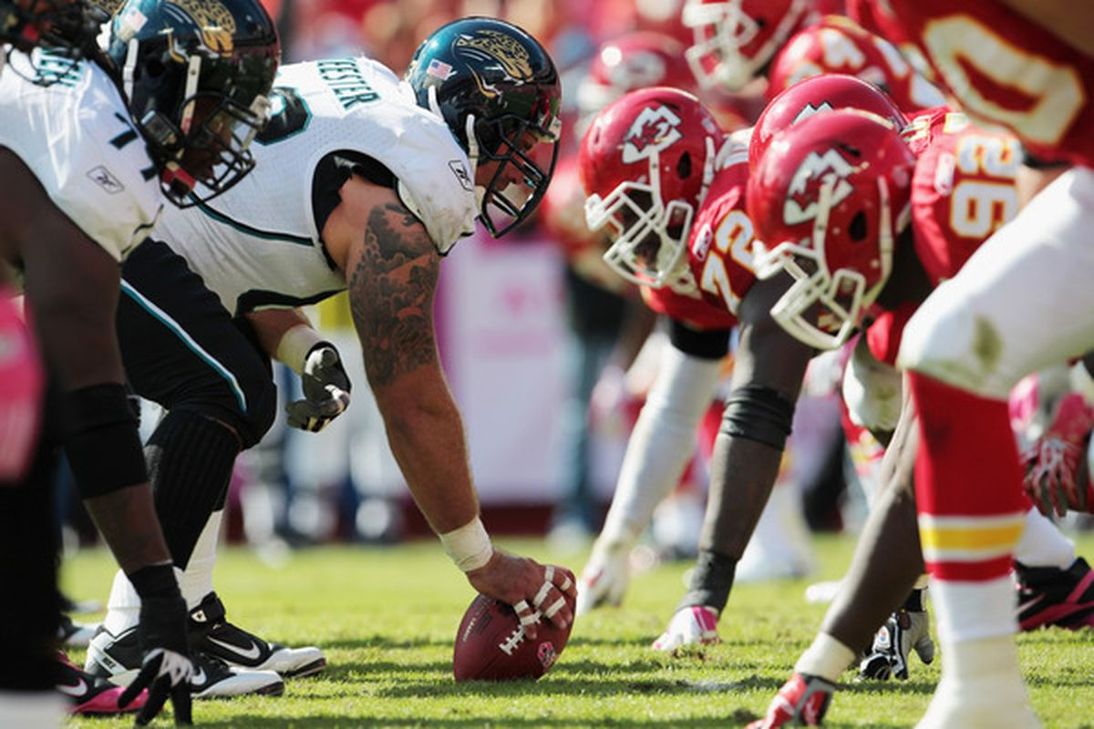 KANSAS CITY MO - OCTOBER 24:  The Jacksonville Jaguars line up against the Kansas City Chiefs during the game on October 24 2010 at Arrowhead Stadium in Kansas City Missouri.  (Photo by Jamie Squire/Getty Images)