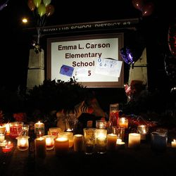A memorial to Braden and Charlie Powell at Emma L. Carson Elementary School in Puyallup, Washington, Sunday, Feb. 5, 2012.