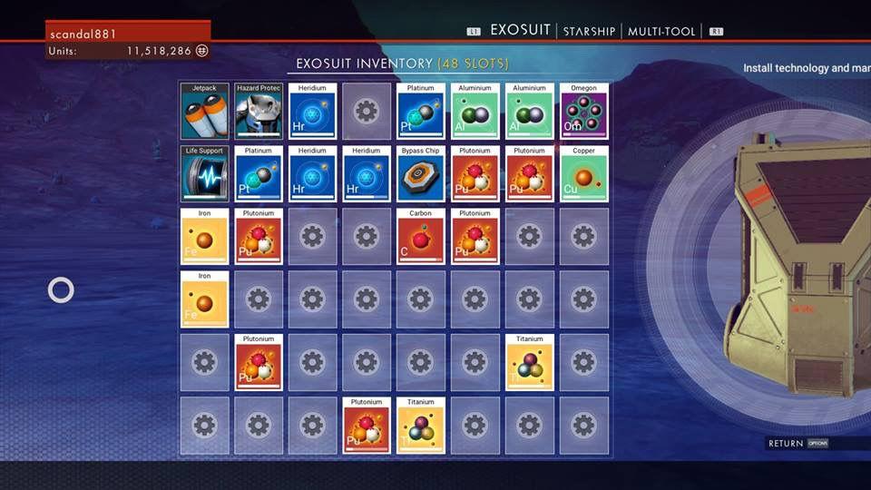 no man's sky inventory