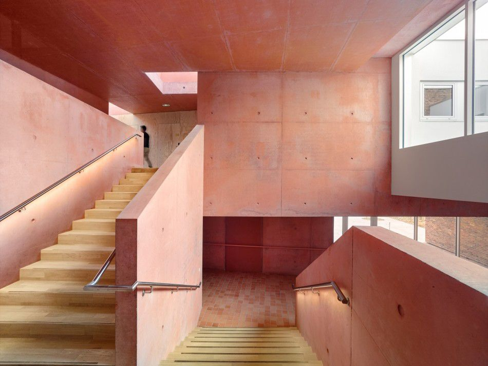 Stairwell with pink walls