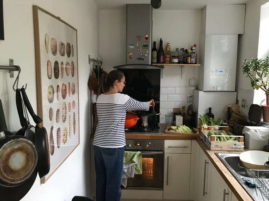 Chef Anna Tobias at home in her kitchen preparing meals for NHS staff through DeliverAid