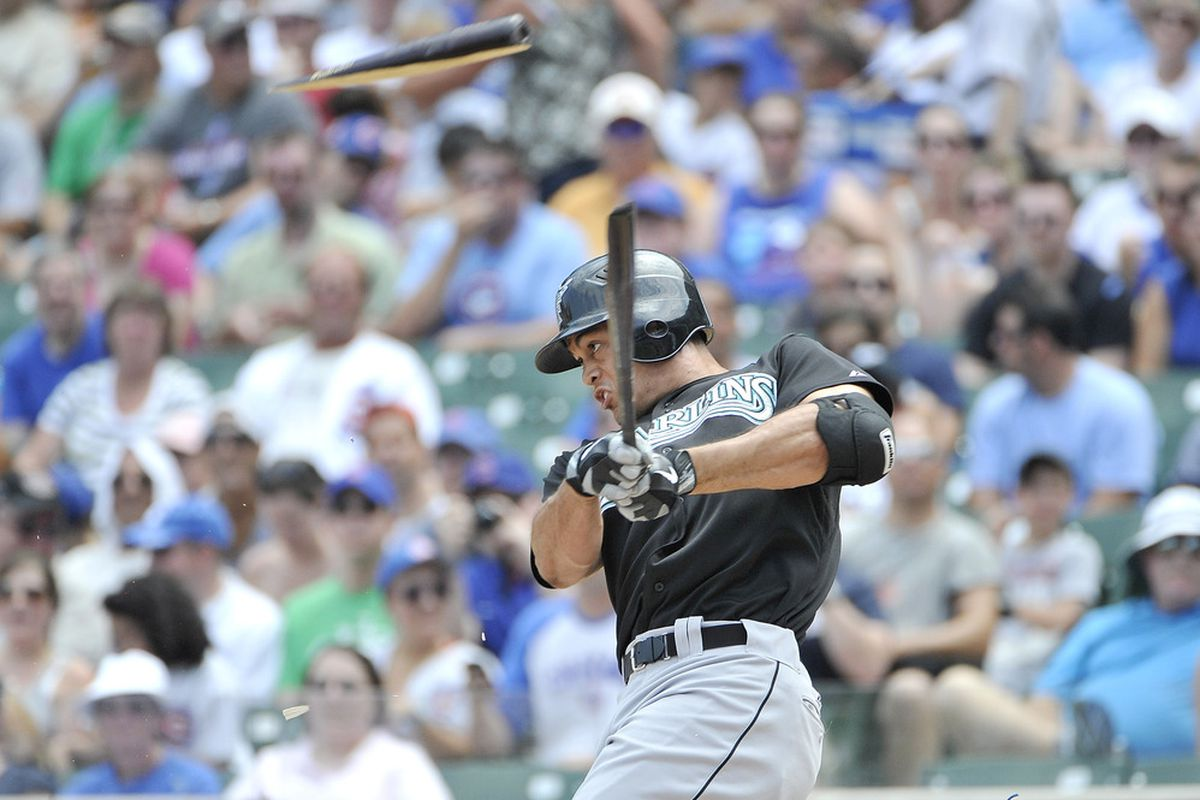 CHICAGO, IL - JULY 17:  Mike Stanton #27 of the Florida Marlins breaks his bat as he grounds out during the first inning against the Chicago Cubs at Wrigley Field on July 17, 2011 in Chicago, Illinois.  (Photo by Brian Kersey/Getty Images)