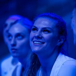 BYU's Paisley Johnson waits for her name to be announced as a starter prior to the Cougars' 65-54 win over Pacific at the Marriott Center in Provo on Saturday, Feb. 15, 2020.