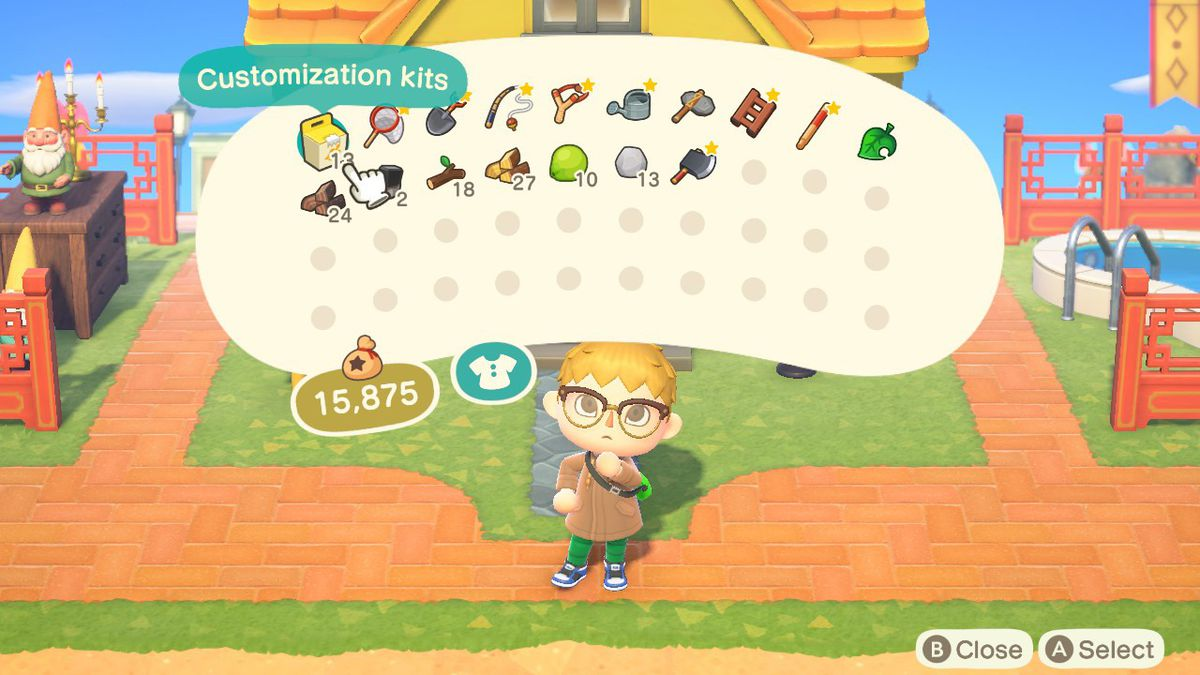Showing off the biggest inventory in Animal Crossing New Horizons