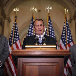 House Speaker John Boehner of Ohio, accompanied by House Education and the Workforce Committee Chairman Rep. John Kline, R-Minn., left, and Rep. Jeb Hensarling, R-Texas, speak about a student loans bill, Wednesday, April 25, 2012, on Capitol Hill in Washington.