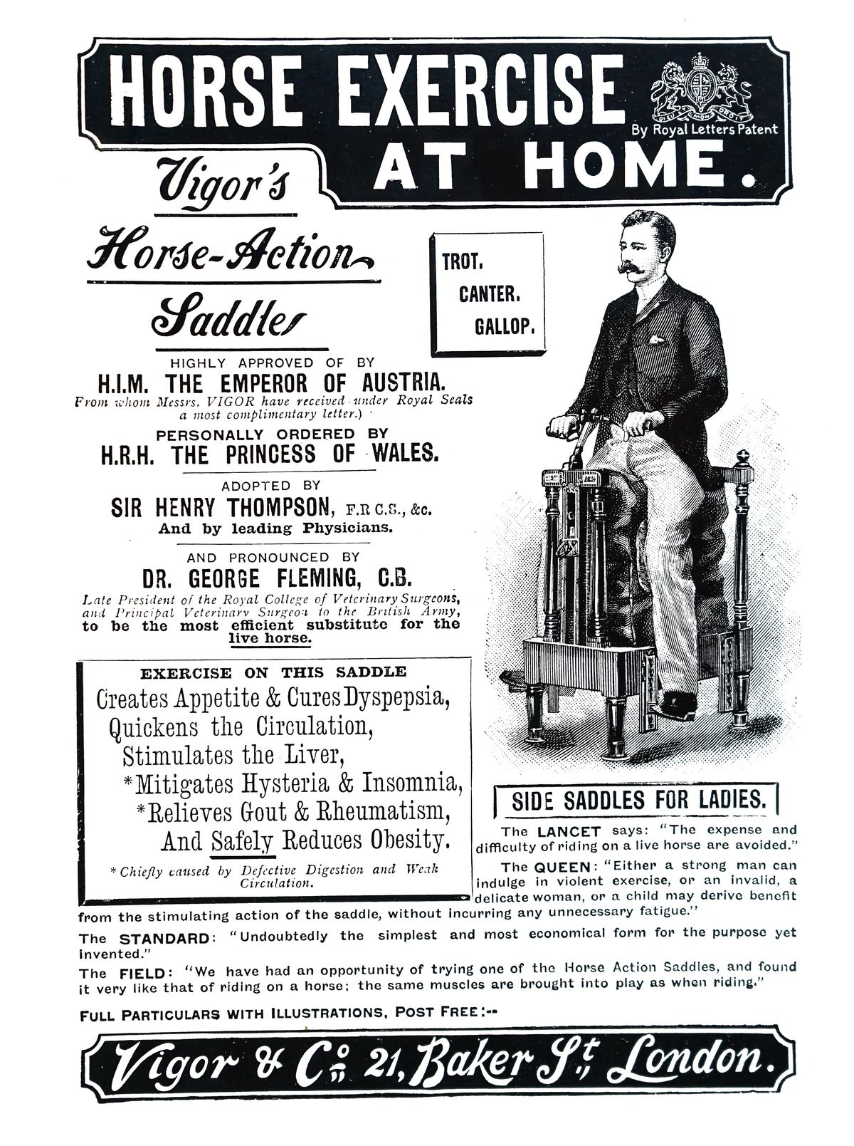 An archival magazine ad for a vibrating saddle