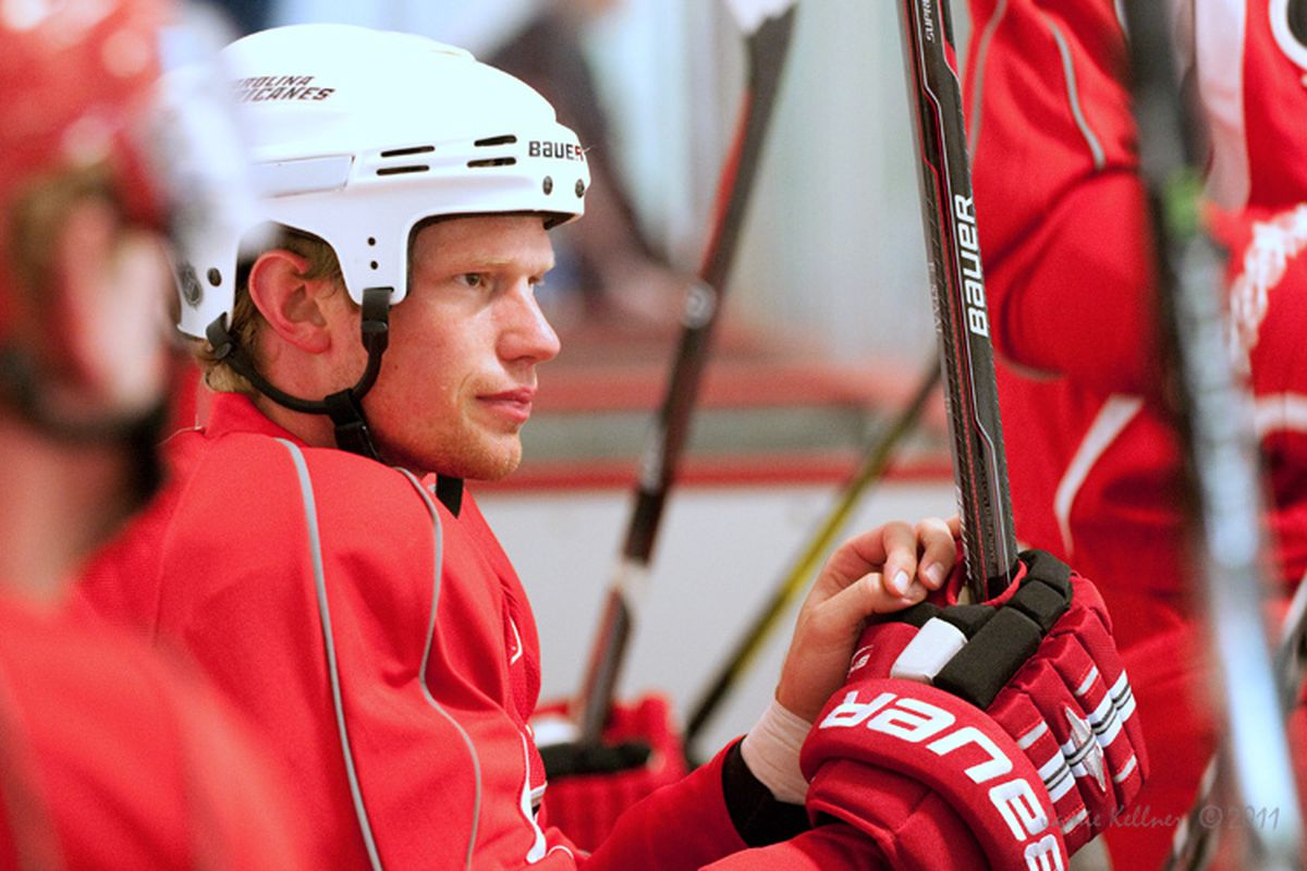 """Eric Staal is back in Raleigh and ready to lead his team to the playoffs. He was with his team at RCI this morning when <a href=""""http://farm7.static.flickr.com/6208/6097536703_ccaa8ee1bb_b.jpg"""">Jamie Kellner</a> captured this for us."""