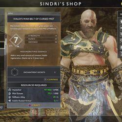 Sindri's Niflheim armor in <em>God of War</em>