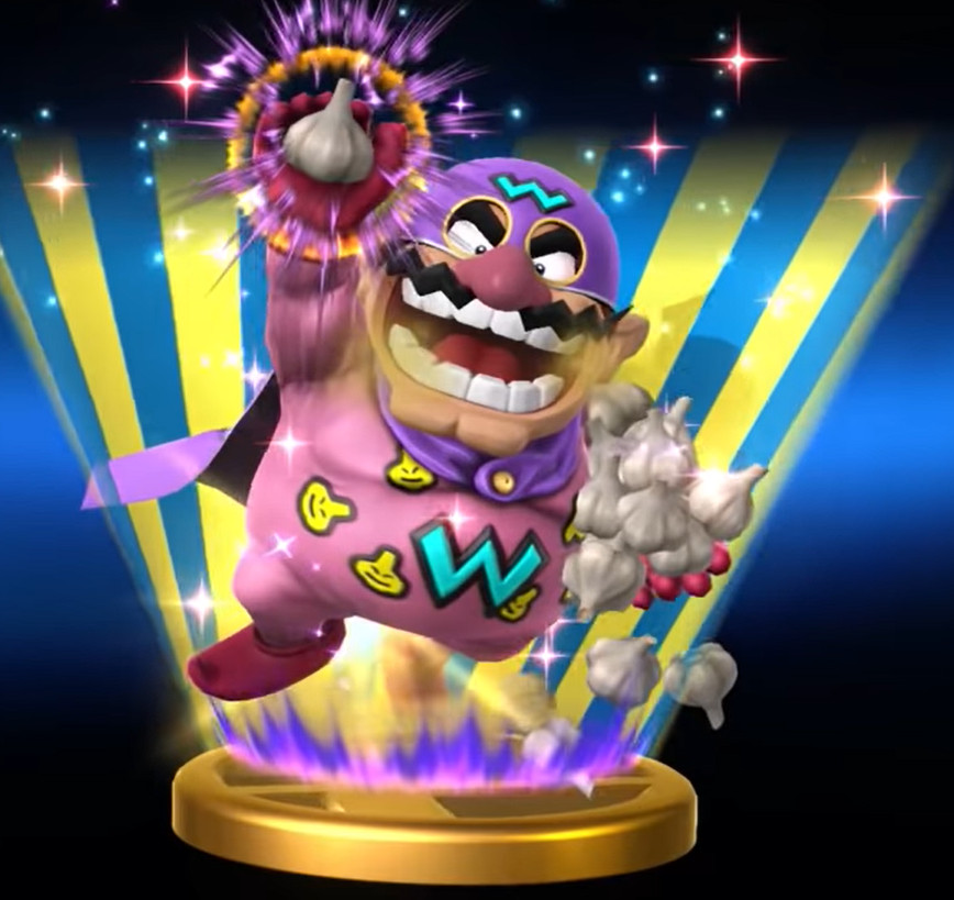 wario man holding garlic and wearing a purple cape
