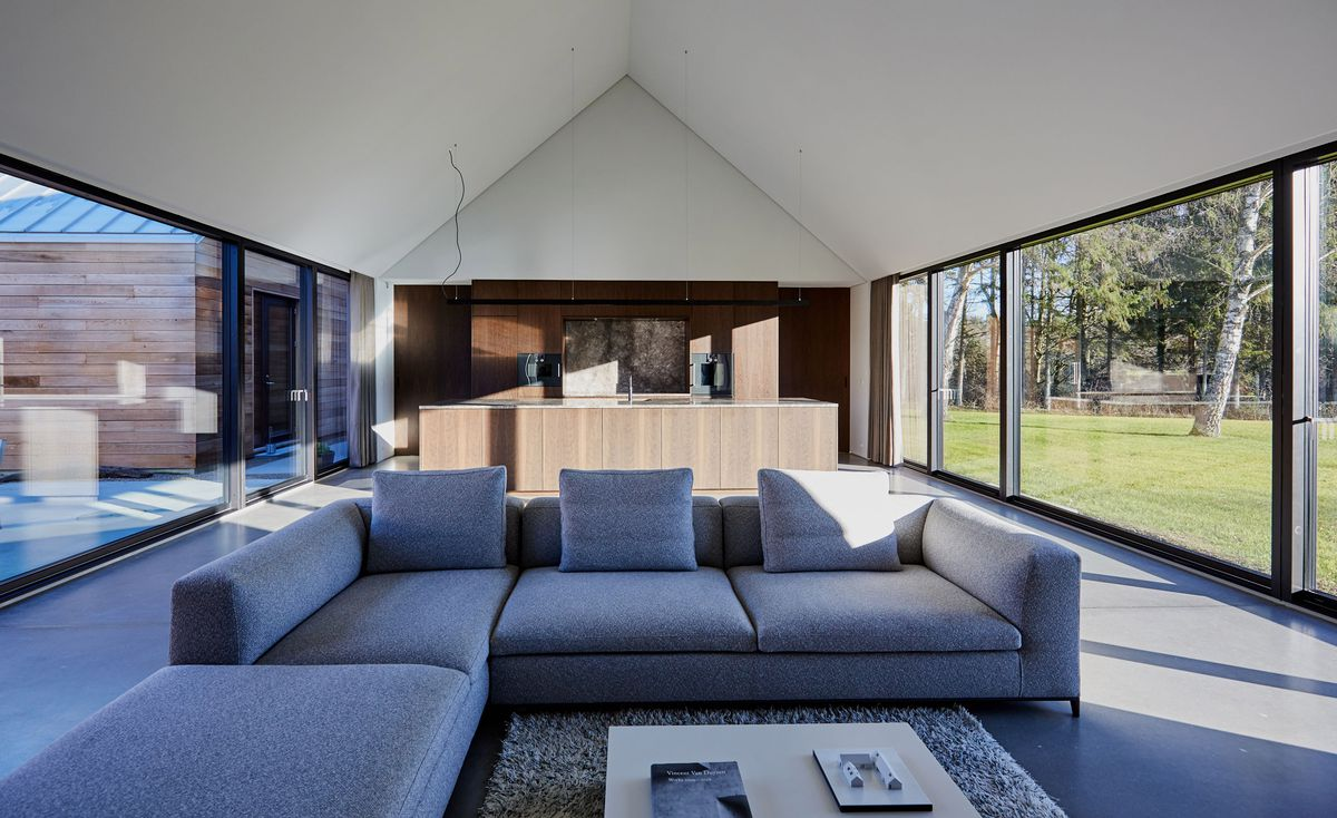 An interior view of the living room and kitchen, featuring a pitched roof, gray sectional, and glass walls on both sides.