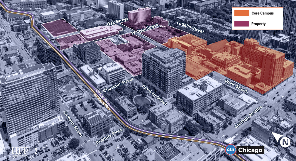 An areal diagram of the site from the southwest. The image highlights the campus of Moody Bible Institute, the parcels for sale, and the CTA Brown and Purple lines.