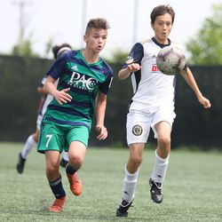 Sebastian Brandt (right) and Nathanial Hoval during a U13 game between the Philadelphia Union and PA Classics on June 1, 2019