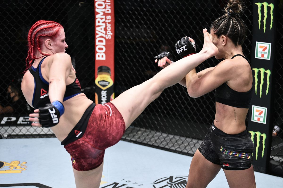 Gillian Robertson of Canada kicks Cortney Casey in their flyweight bout during the UFC Fight Night event at UFC APEX on June 20, 2020 in Las Vegas, Nevada.