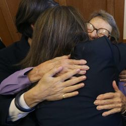 Phyllis Lyon, facing, hugs attorney Kate Kendall after the Supreme Court decision clearing the way for same-sex marriage in California, at the office of San Francisco Mayor Ed Lee at City Hall in San Francisco, Wednesday, June 26, 2013. Lyon and her late partner Del Martin became the first officially married same sex couple in California after the state's Supreme Court declared gay marriage legal in 2008.